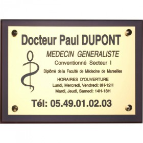Plaque professionnelle aluminium support plexiglass